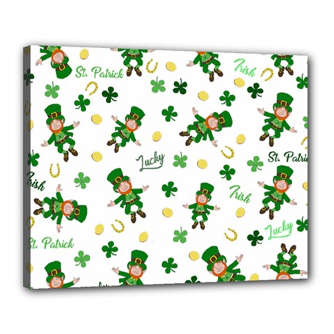 St Patricks Day Pattern Canvas 20  X 16