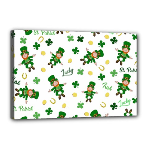 St Patricks Day Pattern Canvas 18  X 12