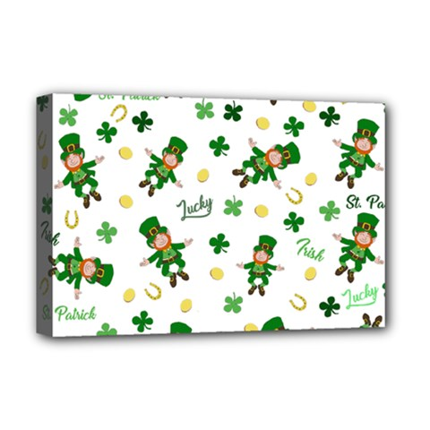 St Patricks Day Pattern Deluxe Canvas 18  X 12