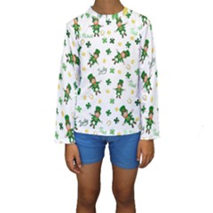 St Patricks Day Pattern Kids  Long Sleeve Swimwear