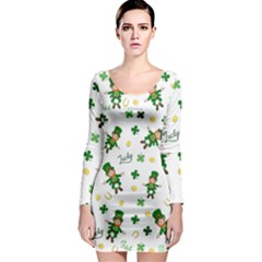 St Patricks Day Pattern Long Sleeve Bodycon Dress