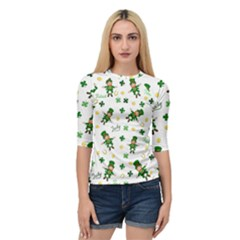 St Patricks Day Pattern Quarter Sleeve Raglan Tee