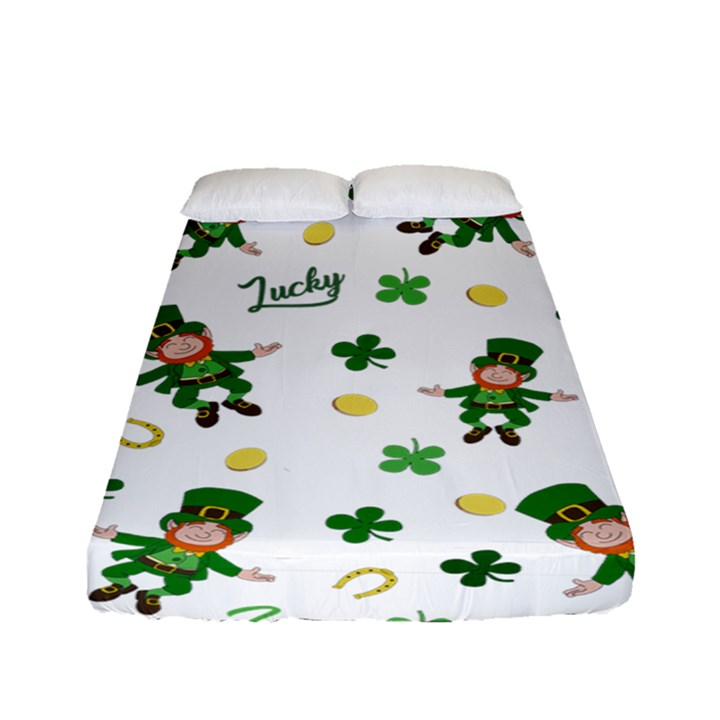 St Patricks day pattern Fitted Sheet (Full/ Double Size)