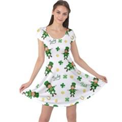 St Patricks Day Pattern Cap Sleeve Dress
