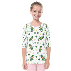 St Patricks Day Pattern Kids  Quarter Sleeve Raglan Tee