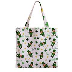 St Patricks Day Pattern Zipper Grocery Tote Bag