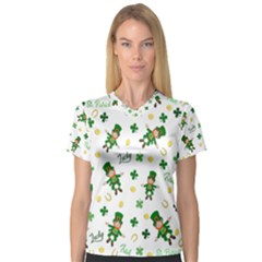 St Patricks Day Pattern V Neck Sport Mesh Tee
