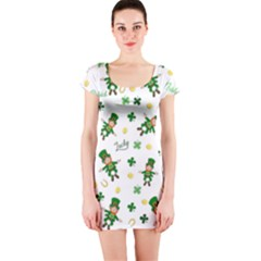 St Patricks Day Pattern Short Sleeve Bodycon Dress