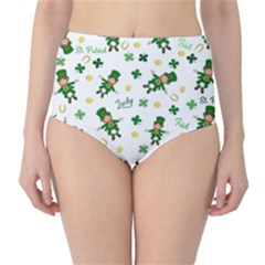 St Patricks Day Pattern High Waist Bikini Bottoms
