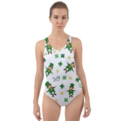 St Patricks Day Pattern Cut Out Back One Piece Swimsuit