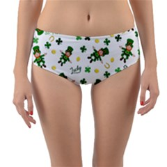 St Patricks Day Pattern Reversible Mid Waist Bikini Bottoms
