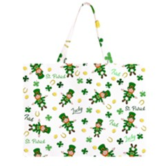 St Patricks Day Pattern Zipper Large Tote Bag