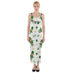 St Patricks Day Pattern Fitted Maxi Dress