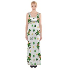 St Patricks Day Pattern Maxi Thigh Split Dress