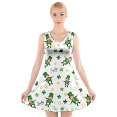 St Patricks Day Pattern V Neck Sleeveless Skater Dress