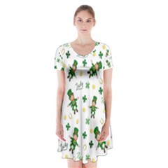 St Patricks Day Pattern Short Sleeve V Neck Flare Dress