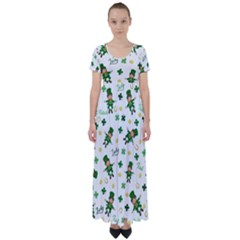 St Patricks Day Pattern High Waist Short Sleeve Maxi Dress
