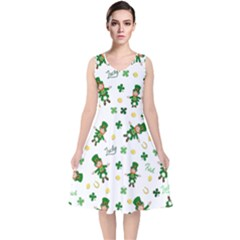 St Patricks Day Pattern V Neck Midi Sleeveless Dress