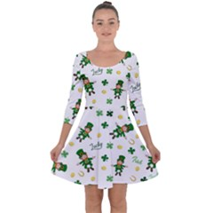 St Patricks Day Pattern Quarter Sleeve Skater Dress