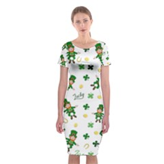 St Patricks Day Pattern Classic Short Sleeve Midi Dress