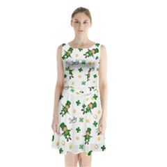 St Patricks Day Pattern Sleeveless Waist Tie Chiffon Dress