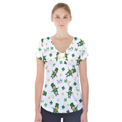 St Patricks Day Pattern Short Sleeve Front Detail Top