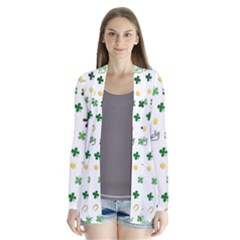 St Patricks Day Pattern Drape Collar Cardigan