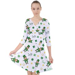 St Patricks Day Pattern Quarter Sleeve Front Wrap Dress