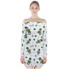 St Patricks Day Pattern Long Sleeve Off Shoulder Dress
