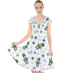 St Patricks Day Pattern Cap Sleeve Front Wrap Midi Dress