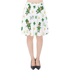St Patricks Day Pattern Velvet High Waist Skirt