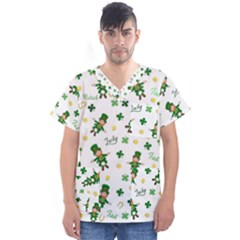 St Patricks Day Pattern Men s V Neck Scrub Top