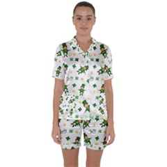 St Patricks Day Pattern Satin Short Sleeve Pyjamas Set