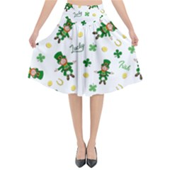 St Patricks Day Pattern Flared Midi Skirt