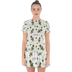 St Patricks Day Pattern Drop Hem Mini Chiffon Dress