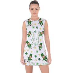 St Patricks Day Pattern Lace Up Front Bodycon Dress