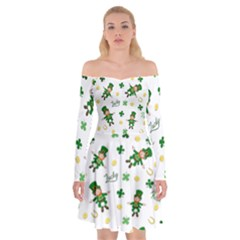 St Patricks Day Pattern Off Shoulder Skater Dress