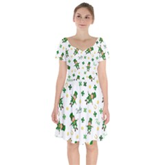 St Patricks Day Pattern Short Sleeve Bardot Dress