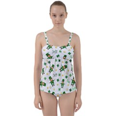 St Patricks Day Pattern Twist Front Tankini Set