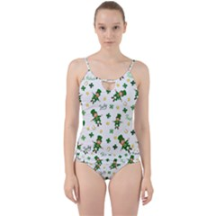 St Patricks Day Pattern Cut Out Top Tankini Set