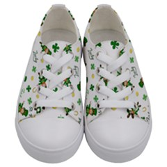 St Patricks Day Pattern Kids  Low Top Canvas Sneakers