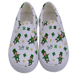 St Patricks Day Pattern Kids  Canvas Slip Ons