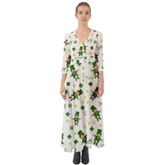 St Patricks Day Pattern Button Up Boho Maxi Dress
