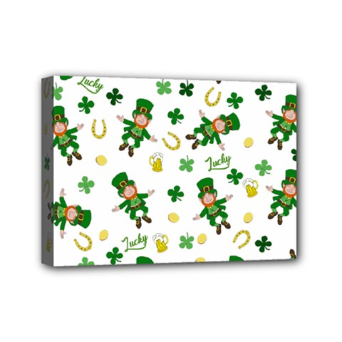 St Patricks Day Pattern Mini Canvas 7  X 5