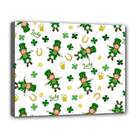 St Patricks Day Pattern Canvas 14  X 11