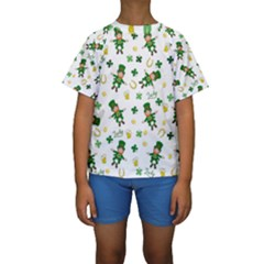 St Patricks Day Pattern Kids  Short Sleeve Swimwear