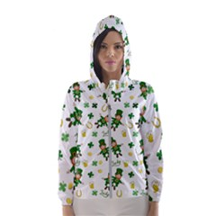 St Patricks Day Pattern Hooded Wind Breaker (women)
