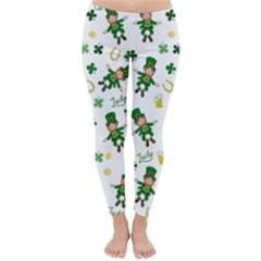St Patricks Day Pattern Classic Winter Leggings