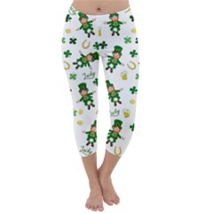 St Patricks Day Pattern Capri Winter Leggings