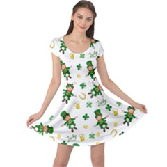St Patricks Day Pattern Cap Sleeve Dress